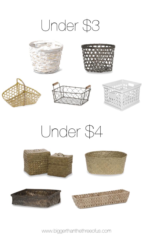 Kitchen baskets for under $5!