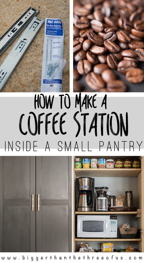 DIY Tutorial for creating a coffee station within a small pantry