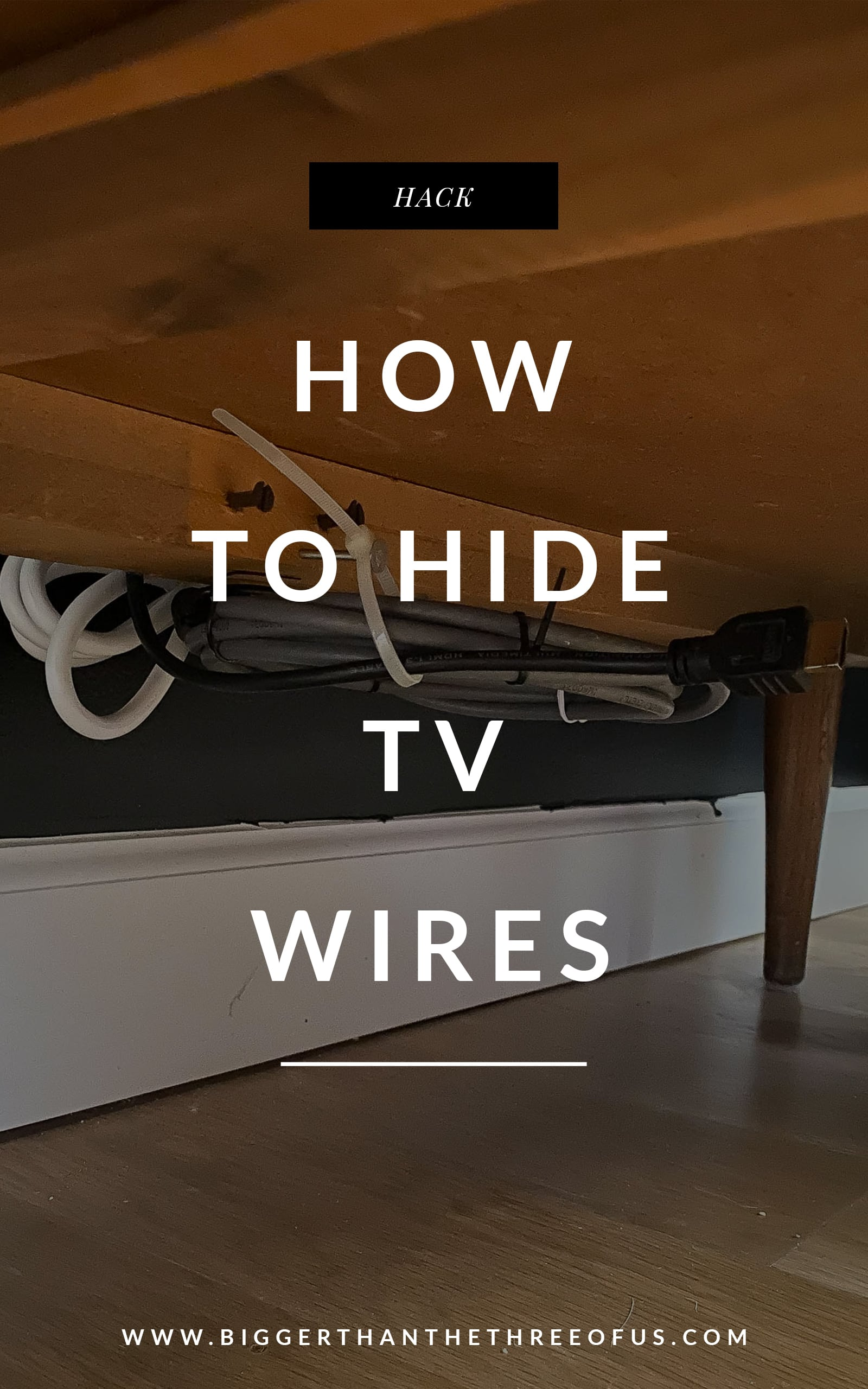TV cable organization under dresser