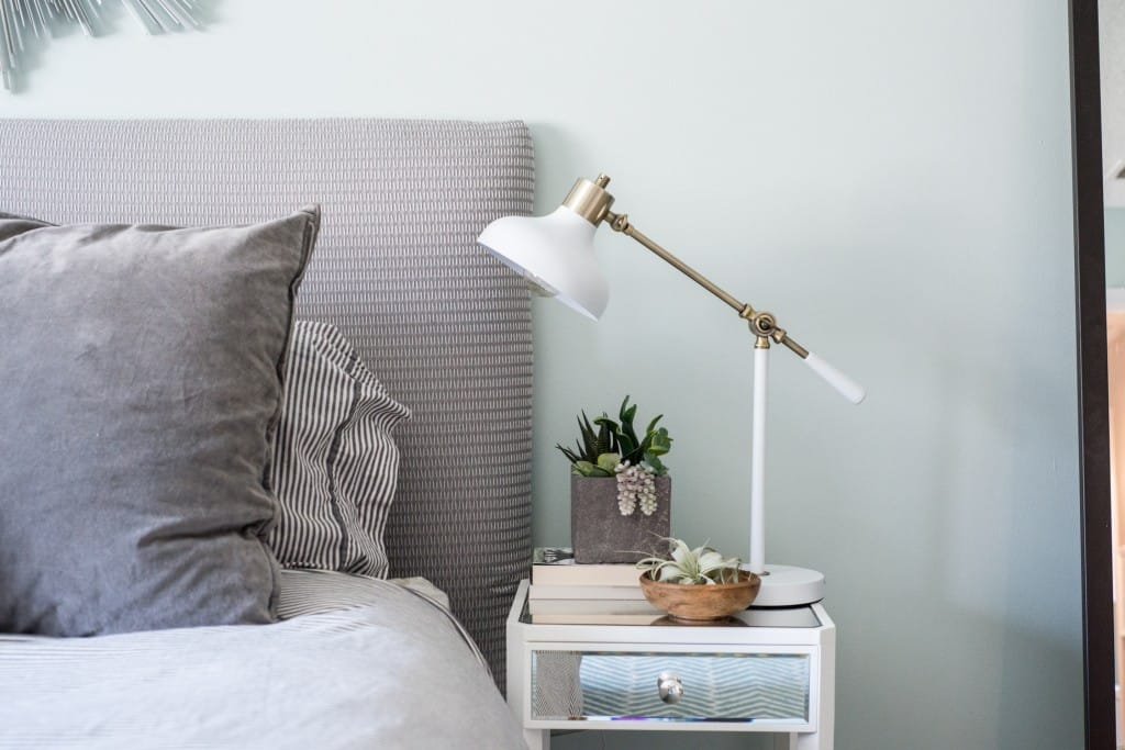 Master bedroom nightstand styling