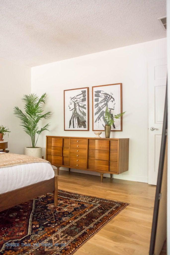 Wood floors in midcentury bedroom