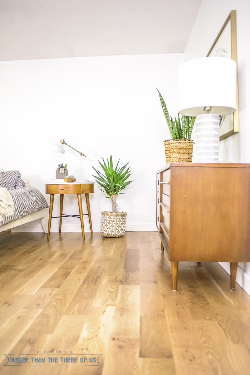 Eclectic summer home bigger than the three of us for Mid century modern master bedroom