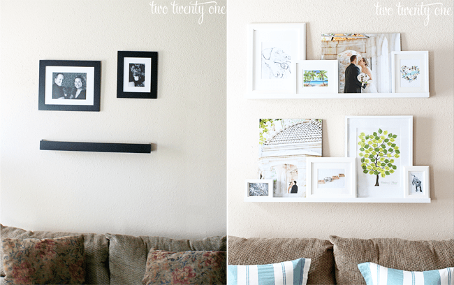 Before and After picture wall transformation