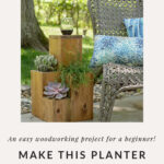 Wood planter table combo