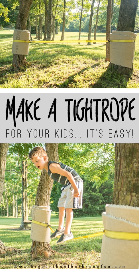 DIY outdoor play idea - Make a tightrope with things out of the garage!