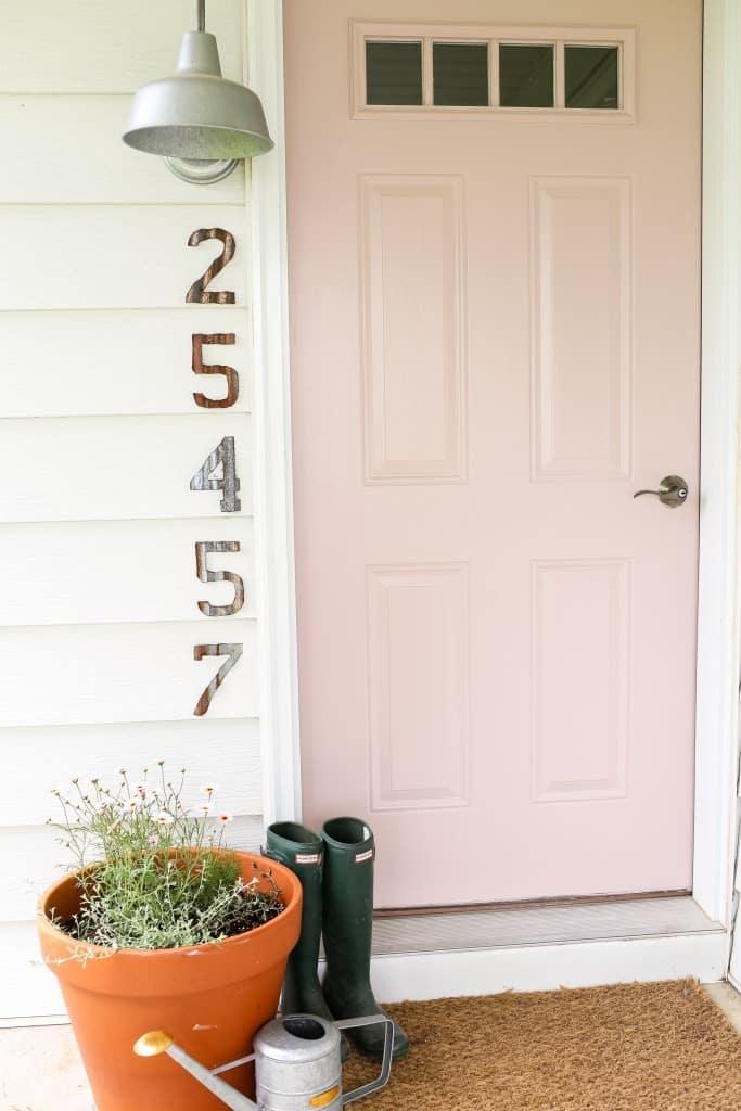 painted pink front door