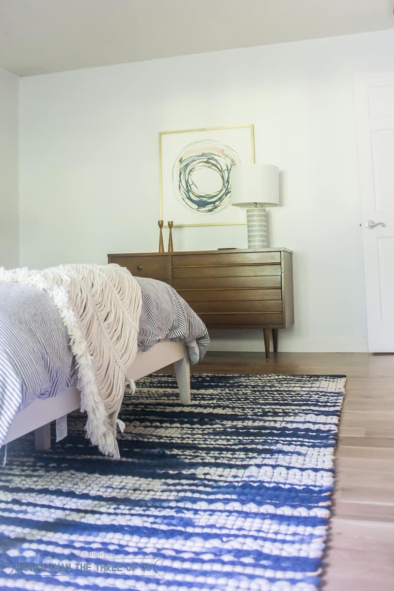 Blue modern master bedroom - Mid Century Blue Master Bedroom