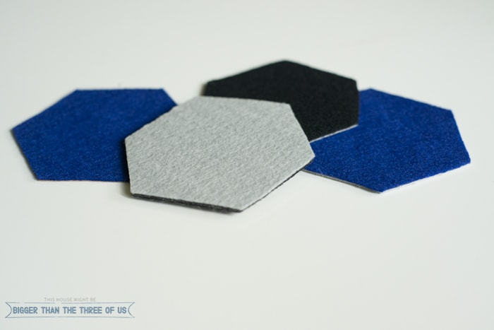 Simple and Modern DIY Felt Hexagon Coasters
