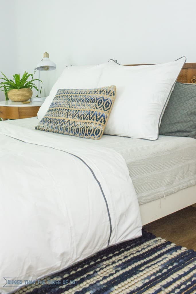 Modern Eclectic Mid-Century Bedroom with white duvet , West Elm nightstand, blue and white rug and plants