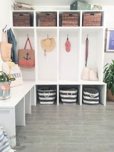 Before and After Mudroom with storage, cubbies, tile, and more!