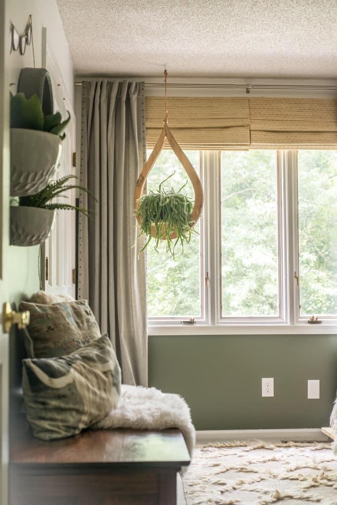 DIY Modern Hanging Planter in a bedroom