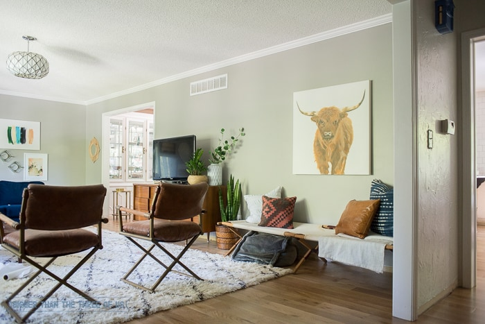 Shag rug with mid-century furniture and gray walls