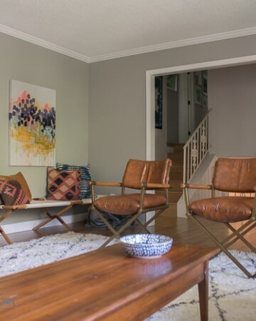 Mid Century living room with shag rug and gray walls