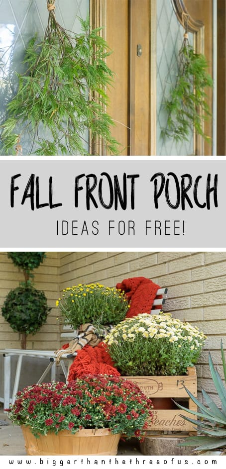 Fall Front Porch Ideas For Free! Budget-friendly seasonal decor. How to Decorate on your Porch on a Budget. #porch #falldecor