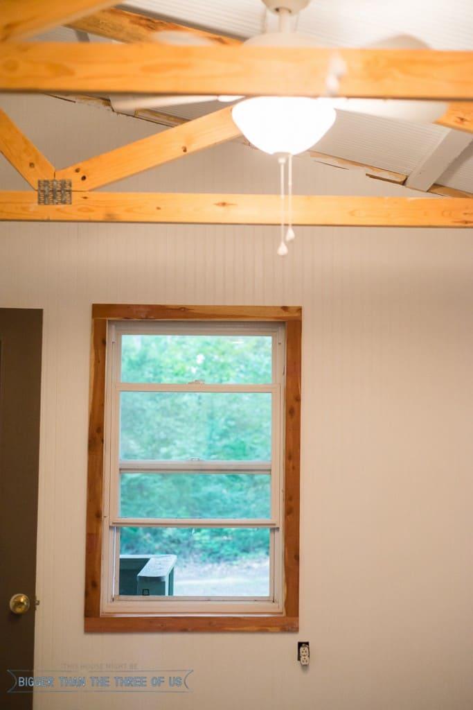 installing trim using rough cedar