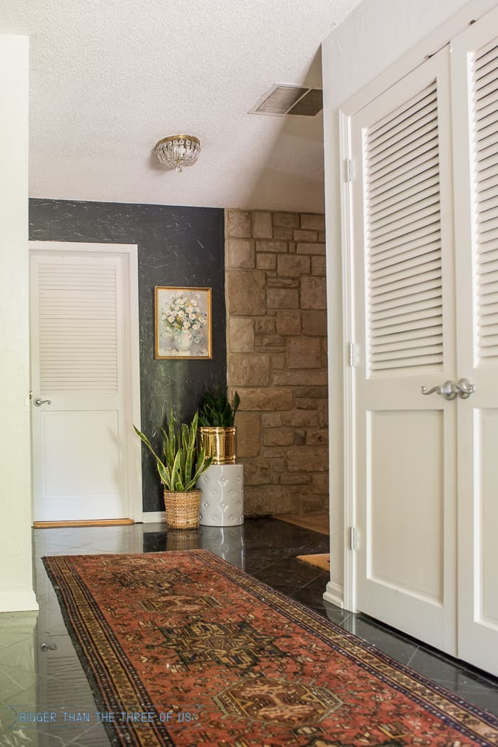 Vintage Persian Rug in Entryway with Dark accent wall and plants