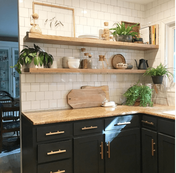 Modern Black Cabinets Open Shelving Kitchen Renovation by Bigger Than The Three Of Us