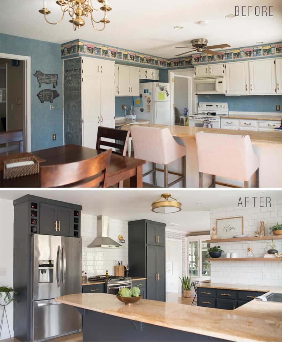 Before And After Eclectic Kitchen With Open Shelving, White Tile, Lewis  Dolin Bar Pulls