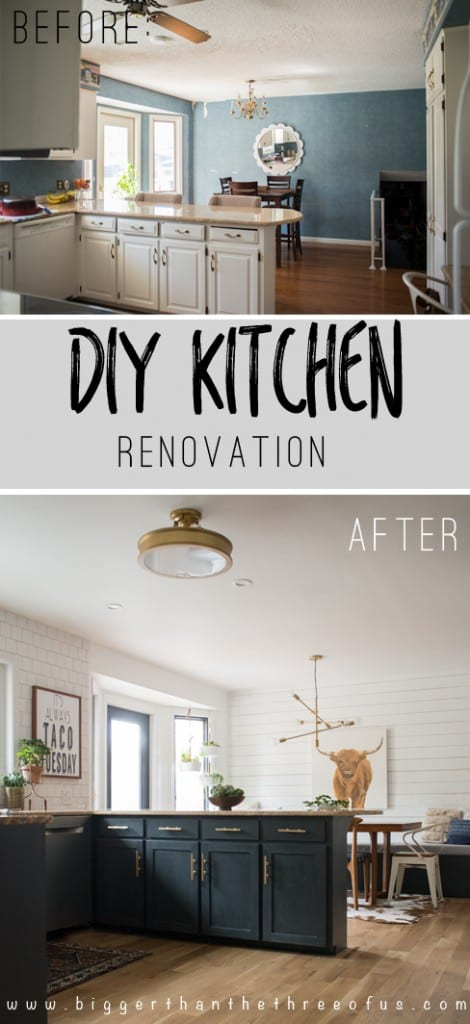 DIY Kitchen Renovation with Dark Painted Cabinets, Open Shelving, and more!!