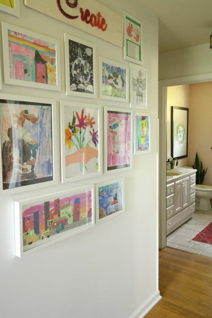 kids artwork gallery wall