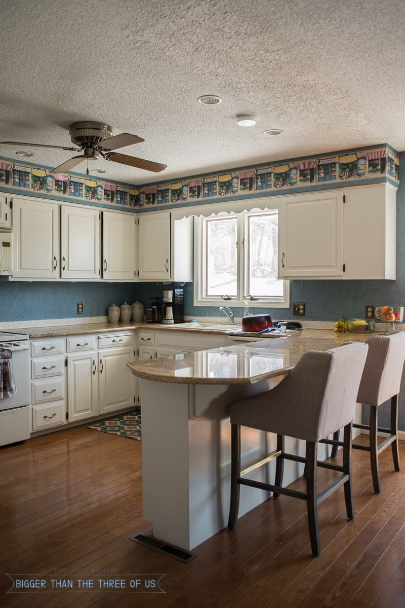 Kitchen Reveal with Dark Cabinets and Open Shelving - Bigger Than ...
