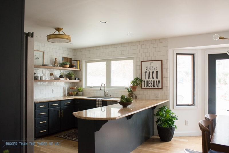 Dark Kitchen Cabinets, White Tile, Open Shelves And Brass! Come Over To  See. U201c