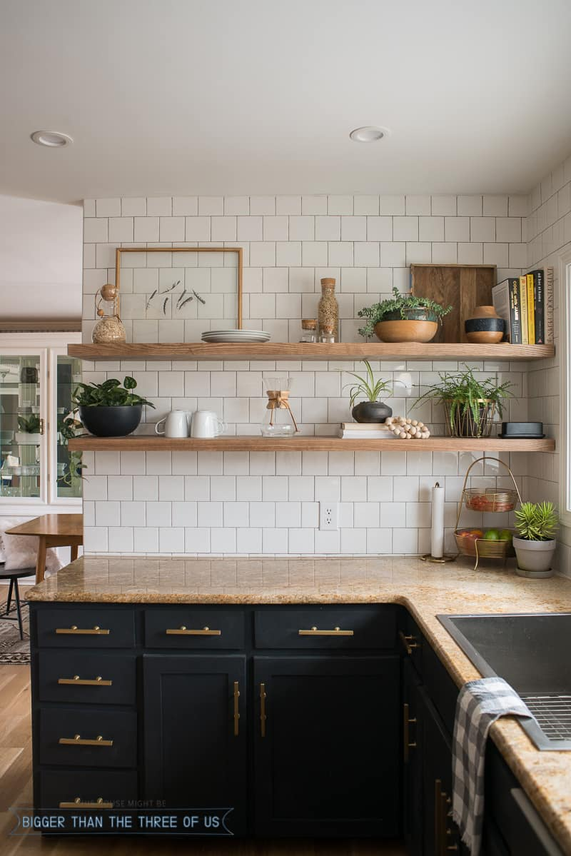 Kitchen reveal with dark cabinets and open shelving bigger than the three of us - Inspired diy ideas small kitchen ...