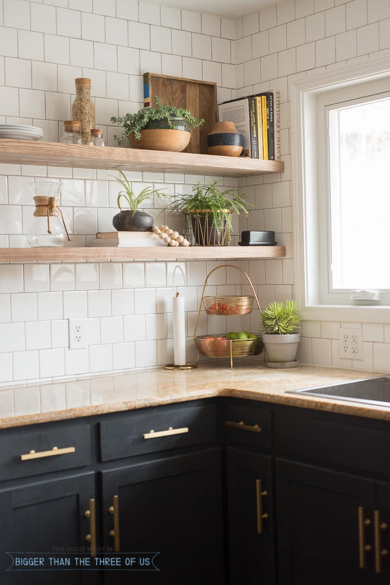 Kitchen reveal with dark cabinets and open shelving for Kitchen cabinet shelves