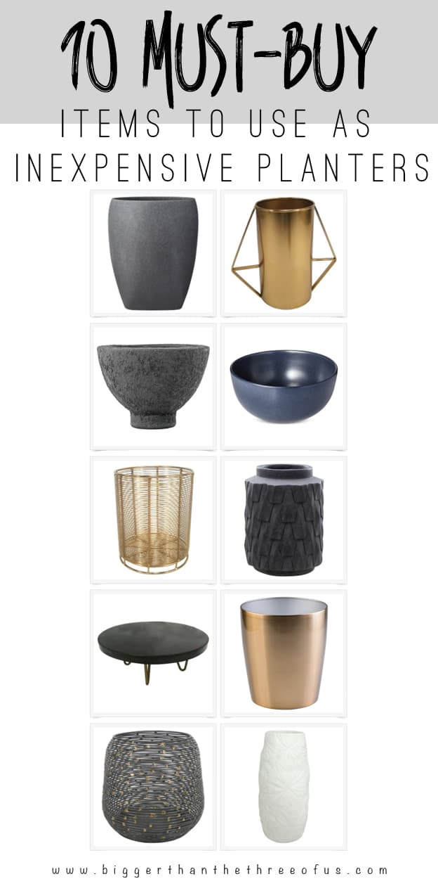 Planters are expensive! Here are my 10 Must-Buy Items to use as Inexpensive Planters!