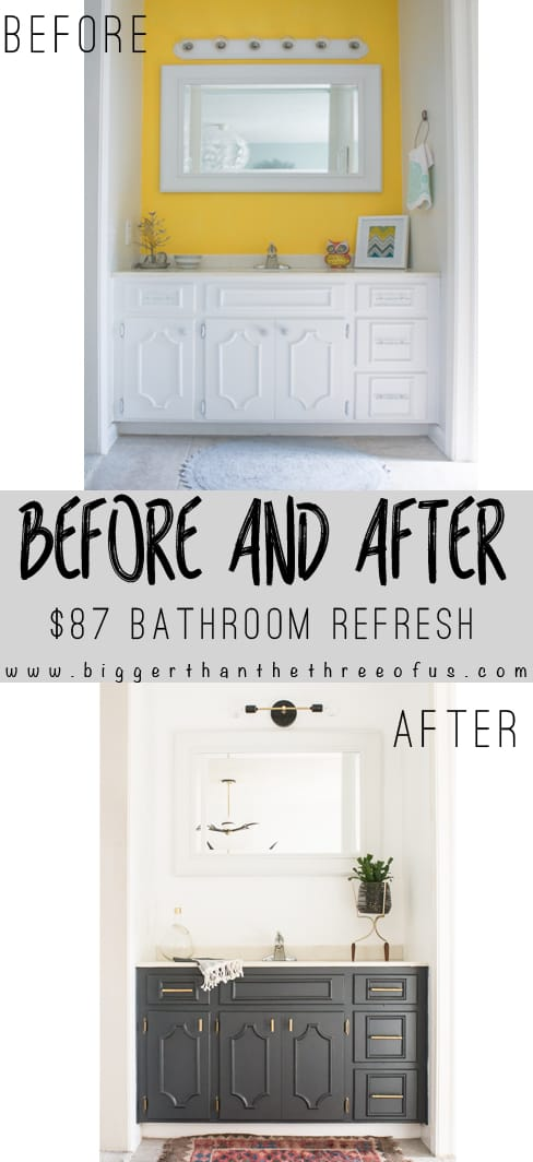 Check out the changes in this bathroom! Can you believe it was transformed for just $87! Click to read more!