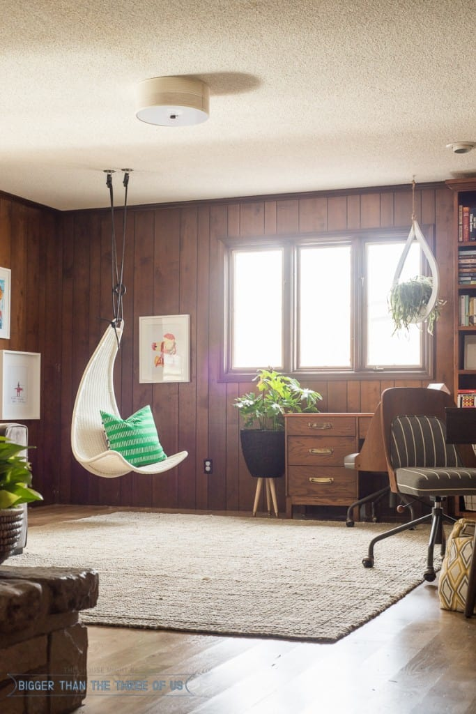 Hanging Chair in playroom with built-in bookcase