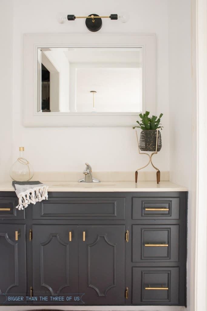 Minimal Bathroom Nook Reveal all for Under $100!