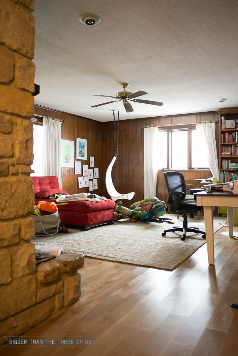 New year refresh for messy playroom office combo bigger - Living room office combination ...