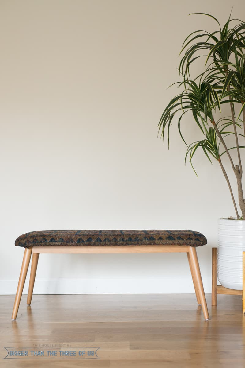 Vintage Rug Upholstered Bench Tutorial Bigger Than The