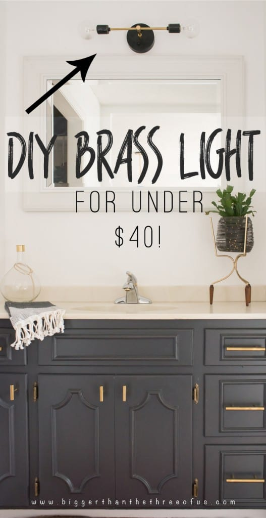 DIY MODERN BRASS LIGHT FOR UNDER $40! GET THE HOW-TO -->