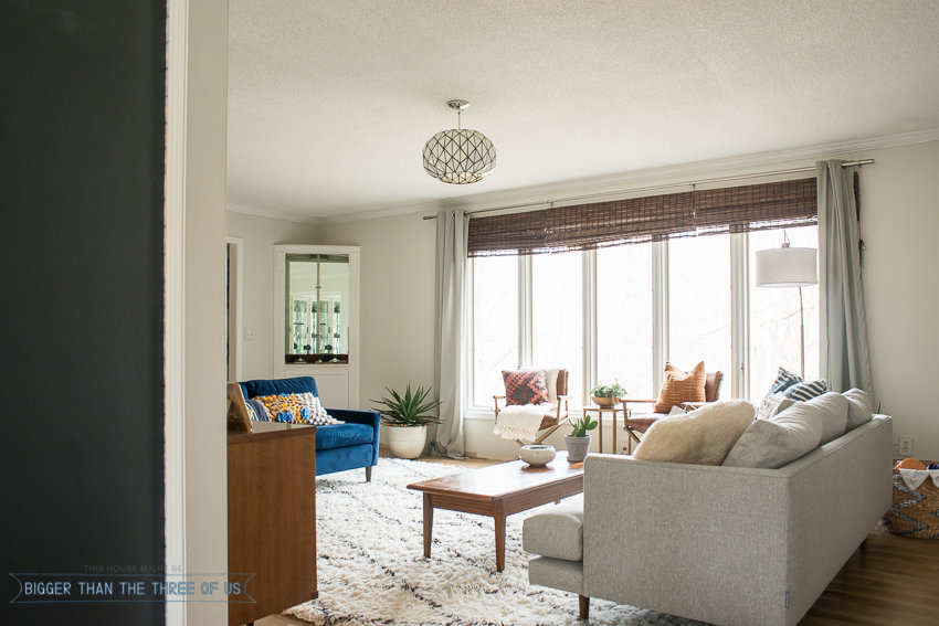 Bright and Modern mid-century living room with shag rug