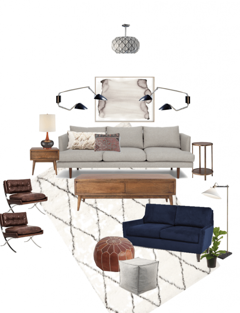 Eclectic Mid-Century Living Room Design by Bigger Than The Three of Us