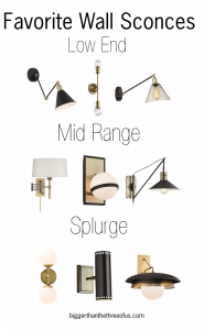 My Favorite Wall Sconces - Brushed Brass, Black and more. Get the details...