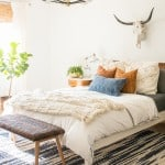 Light and Bright bedroom with mid-century vintage furniture