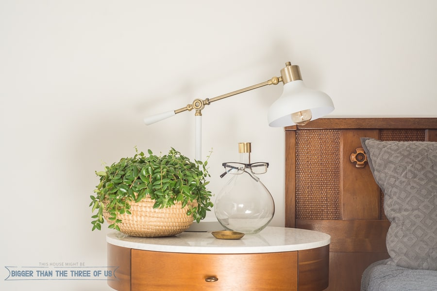 How To Style a Round Nightstand