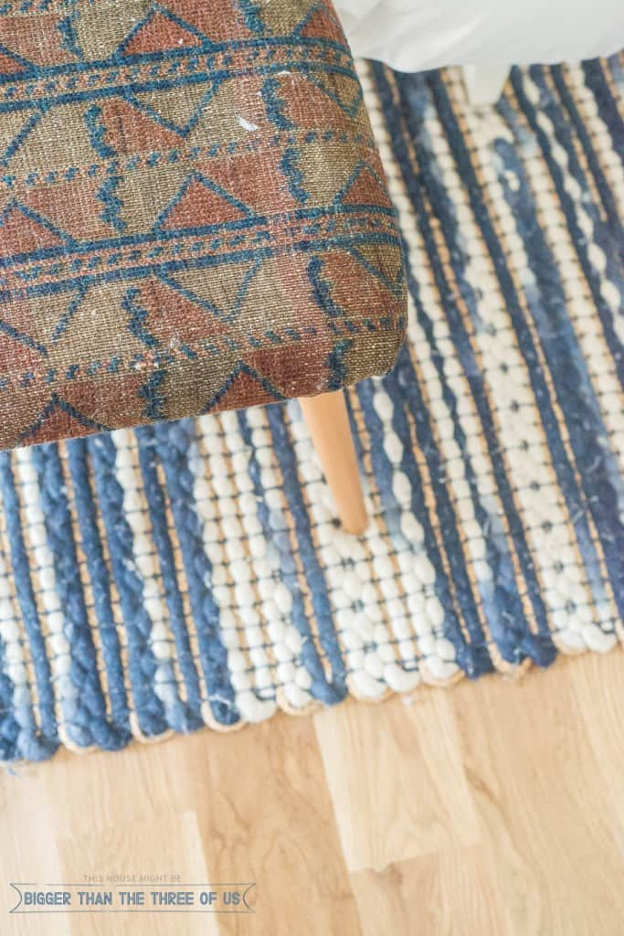 Vintage rug to a cool upholstered bench. Get the full how-to!