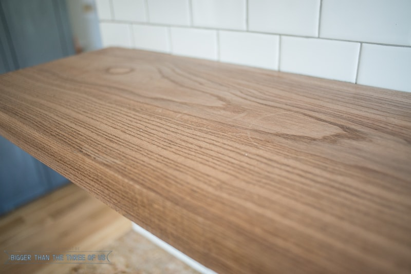 Floating Wood Shelves in the Kitchen