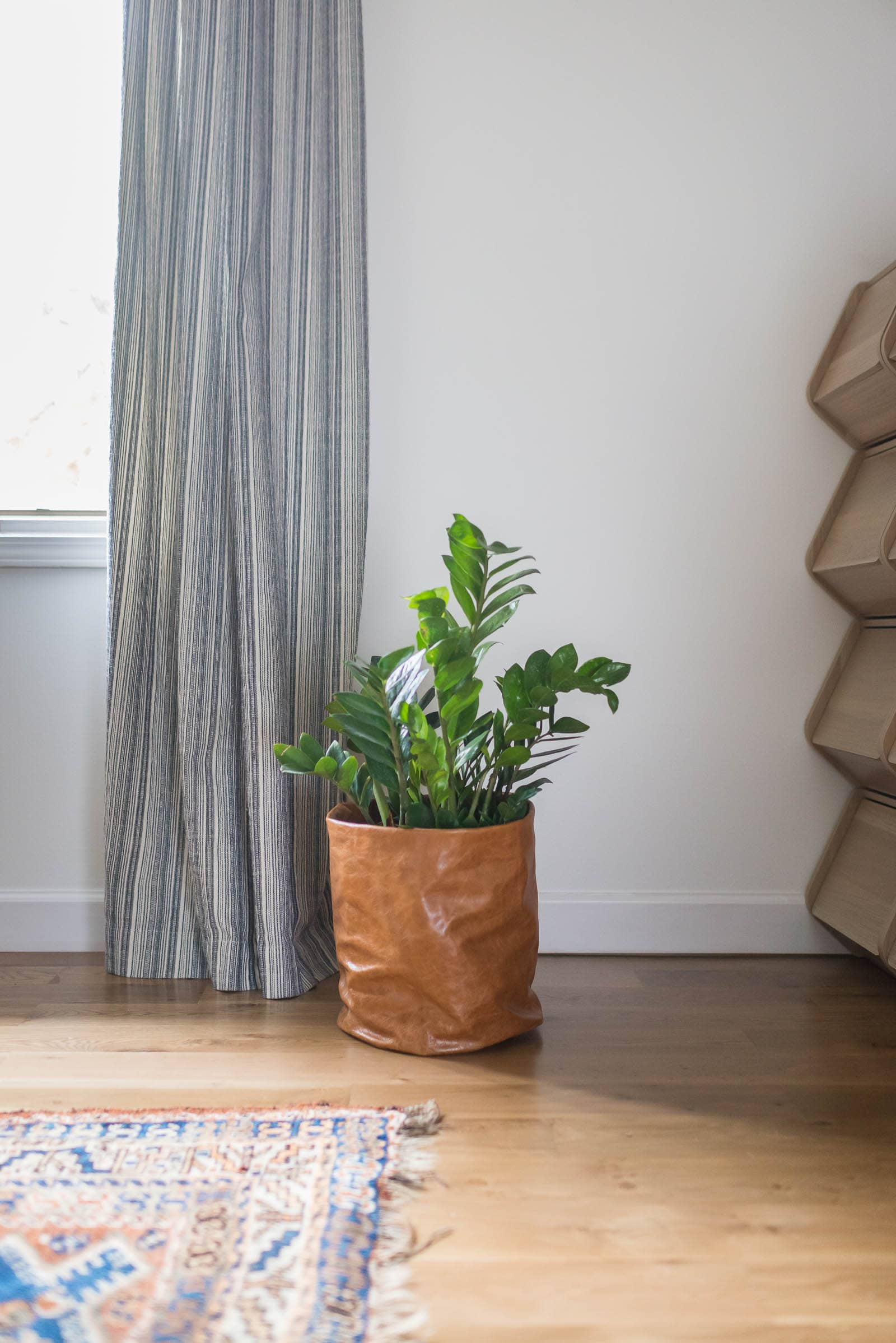 DIY Plant Bag made with scrap leather remnants