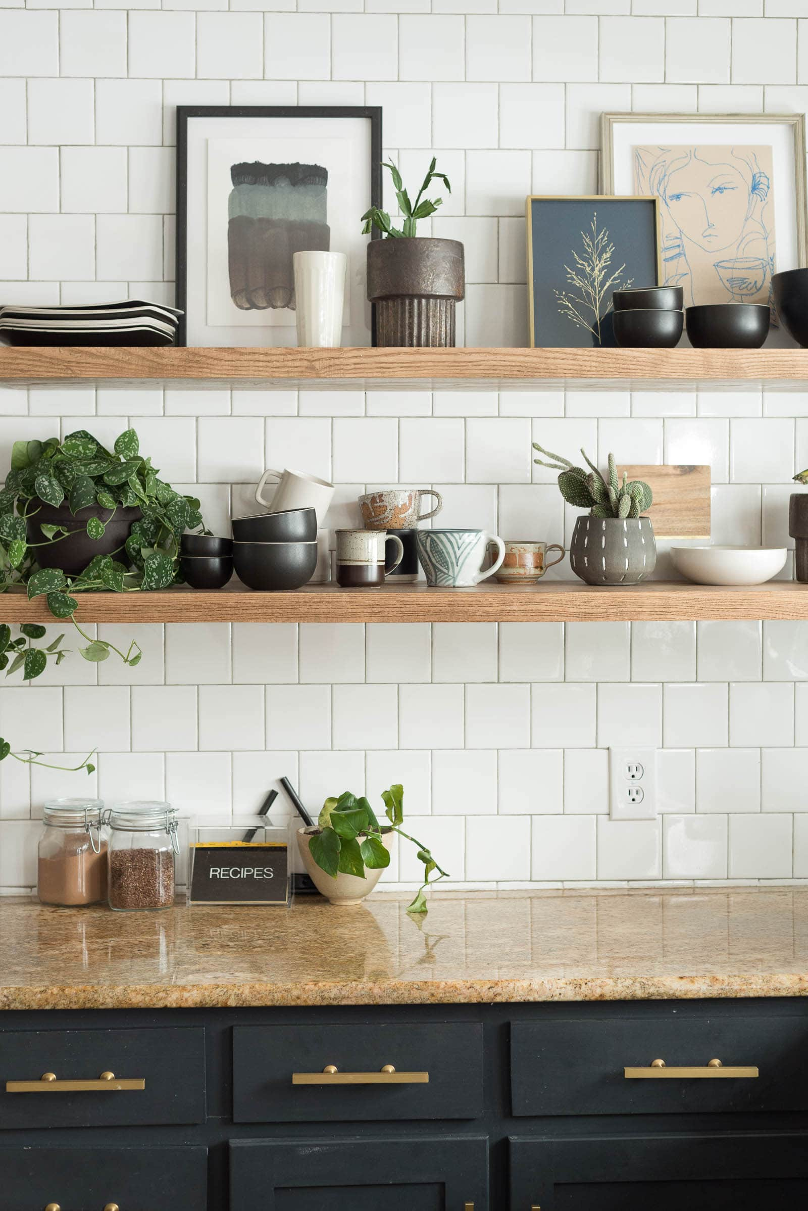 Styled floating shelves in kitchen | Open Kitchen Shelves