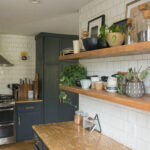 Two open shelves in kitchen