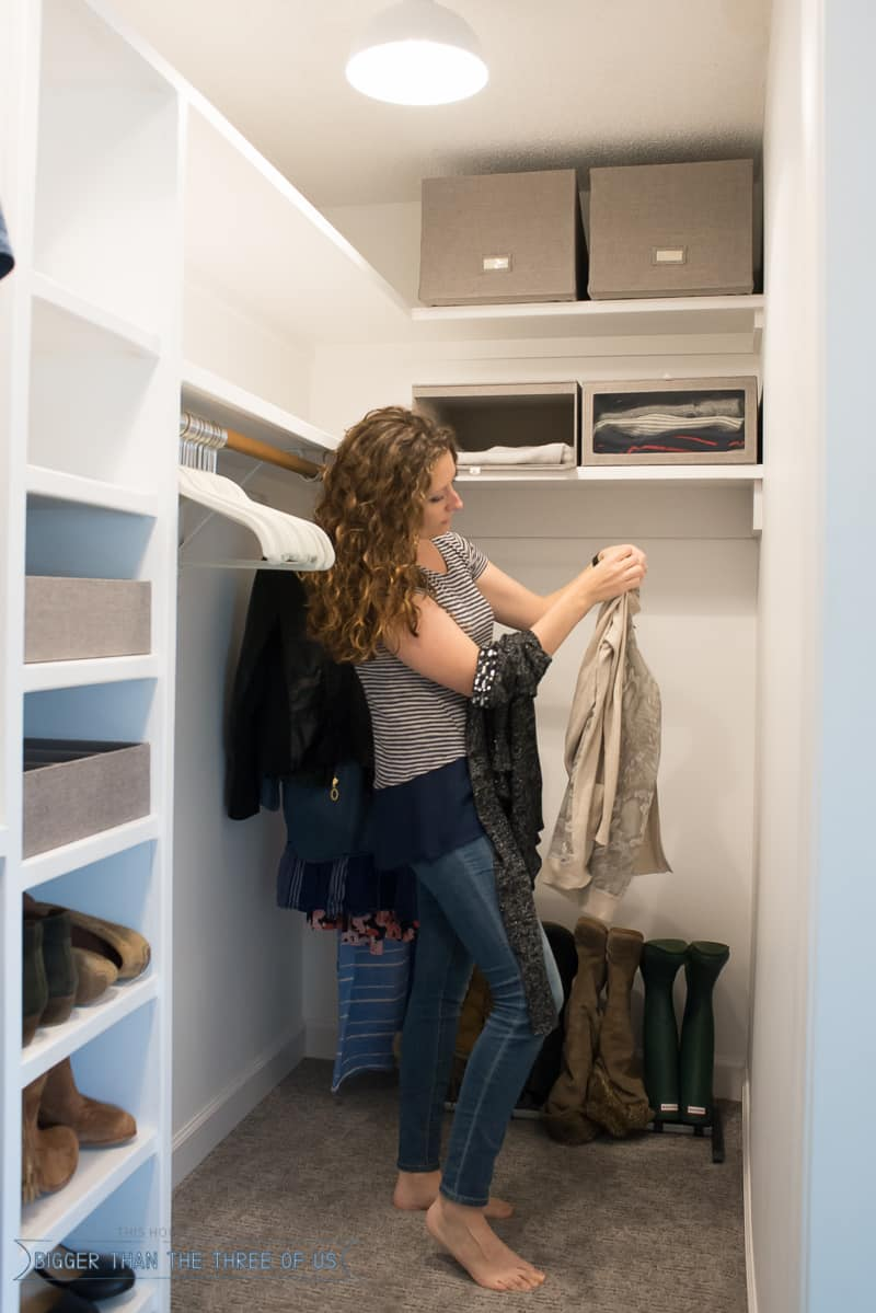 In the middle of the DIY Closet Makeover for the master bedroom