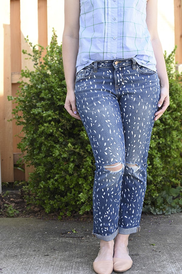 DIY Paint Splattered jeans
