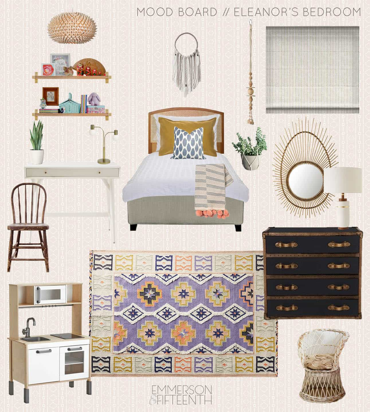 Modern boho Design plan for a girls room