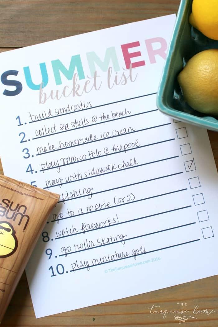 Summer bucket list printable!