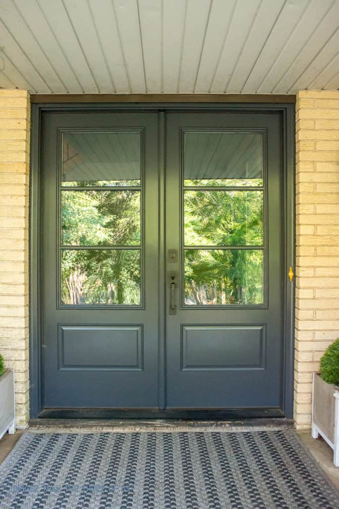 What double front doors with glass cost. Before and after porch makeover with new doors.
